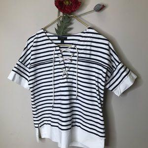 J.Crew | Stripe Laced Neck Tee Shirt Nautical EUC
